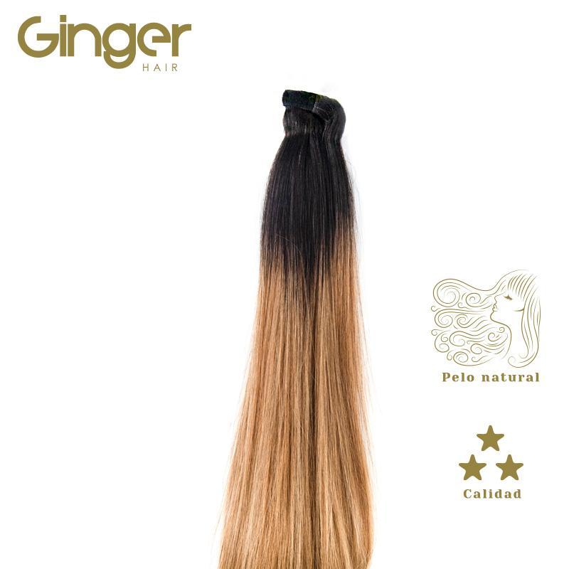 Detalhe de como assenta o cabelo com o rabo de cavalo postiço com californianas da Ginger