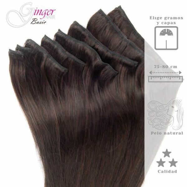 Extensões com clip de cabelo natural de 75-80 cm da Ginger Basic