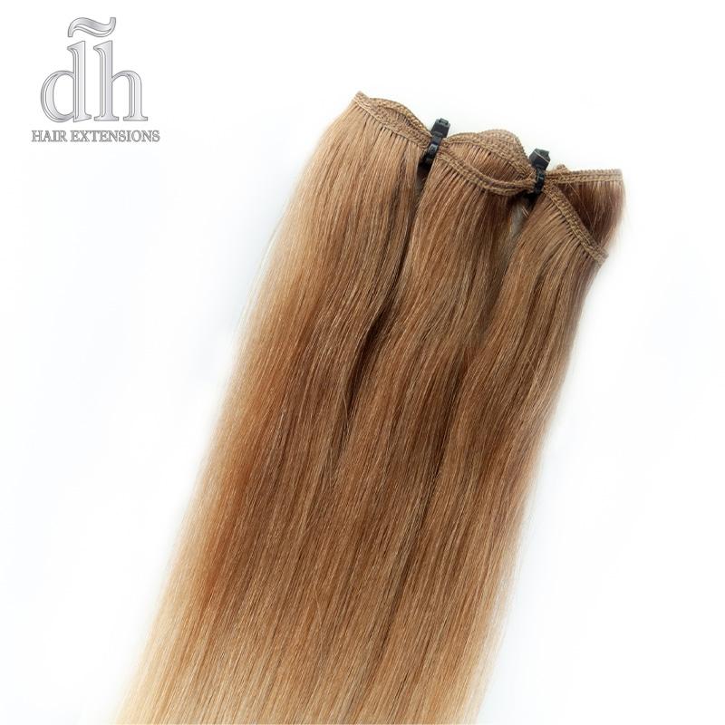 Detalhe da faixa cosida das extensões de cortina californiana, cabelo 100% natural Remy