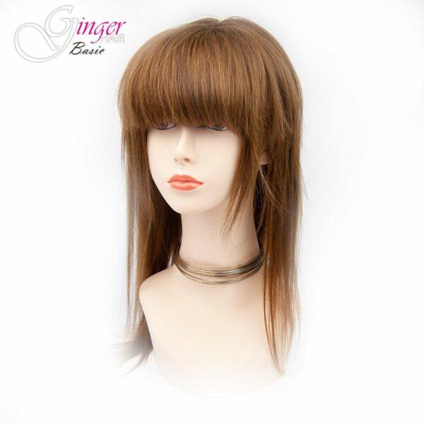 Franja falsa Ginger Basic com forma reta feita de cabelo natural