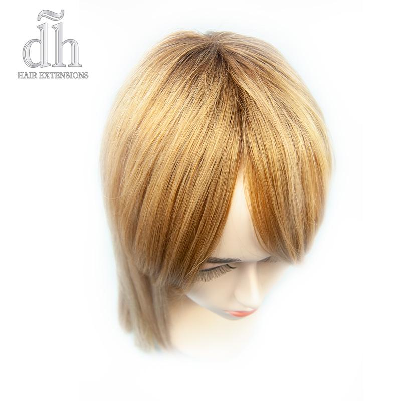 Detalhe do efeito raiz da franja postiça remy da DH Hair Extensions