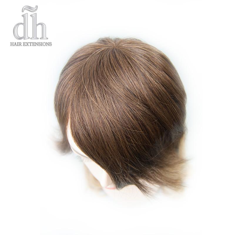Detalhe do cocuruto da franja falsa postiça remy da DH Hair Extensions