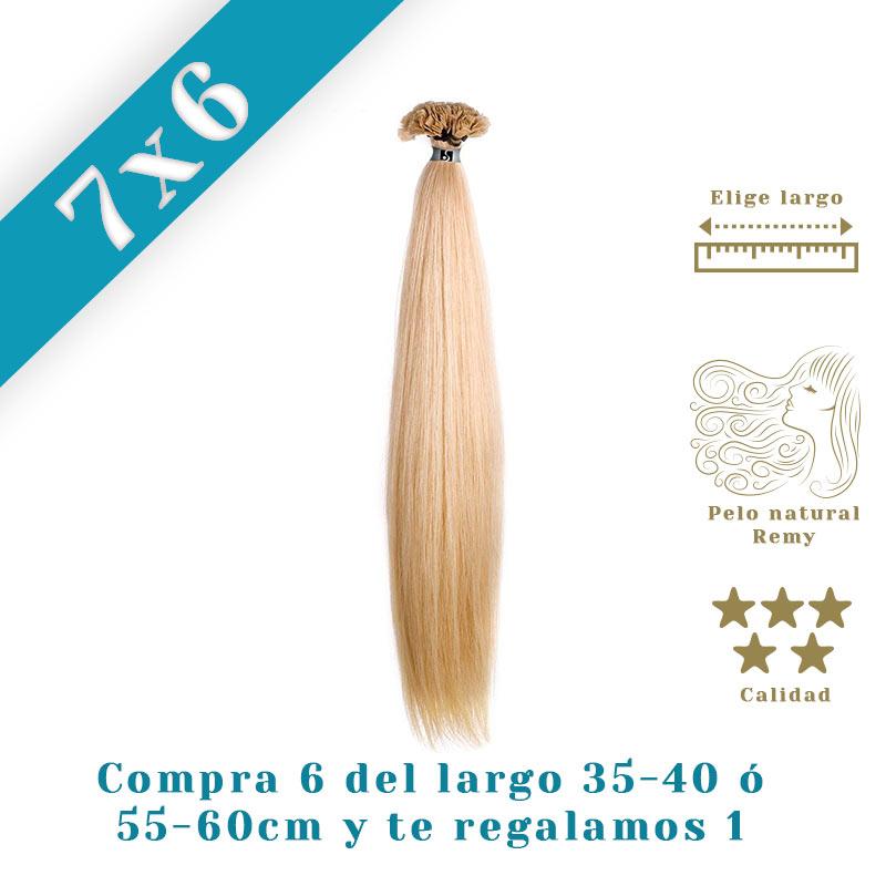 Promoção extensões cabelo liso de queratina de 35-40 ou 55-60: Compre 6 e oferecemos 1