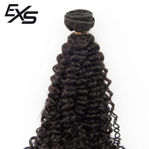 Cabelo virgem indiano costurado com textura afro