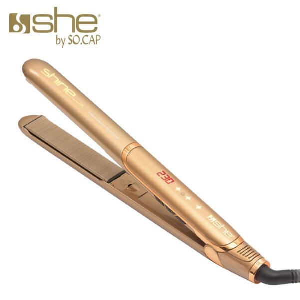 Prancha alisadora Shine Silk Effect 24 cor dourado