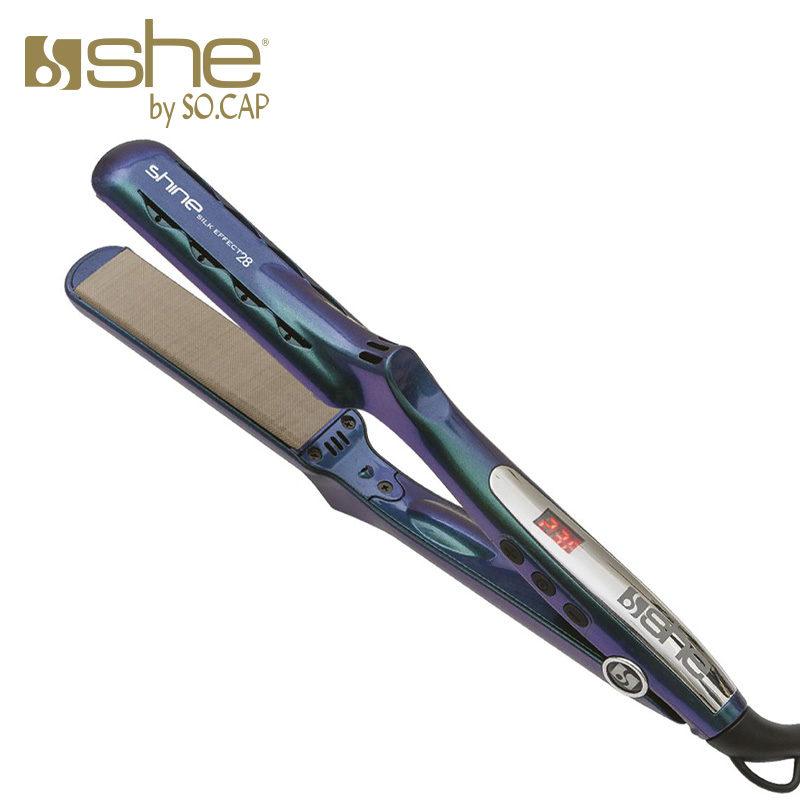Prancha alisadora Shine Silk Effect 28 cor azul