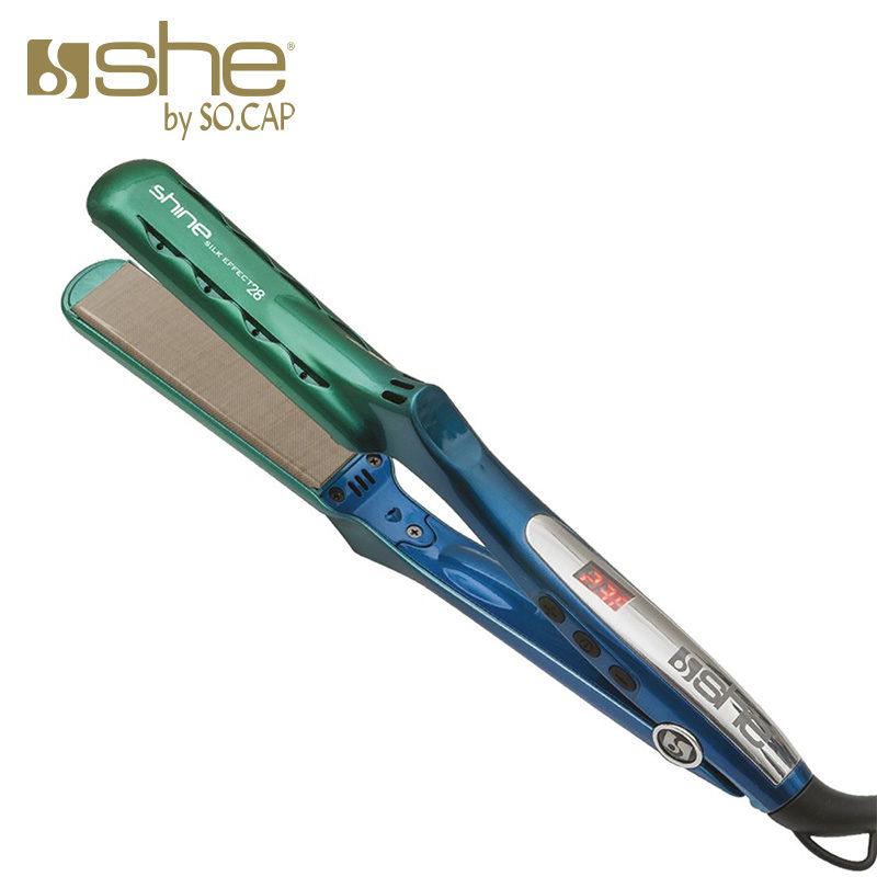 Prancha alisadora Shine Silk Effect 28 cor verde e azul