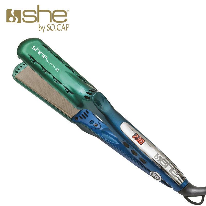 Prancha alisadora Shine Silk Effect 35 cor verde e azul