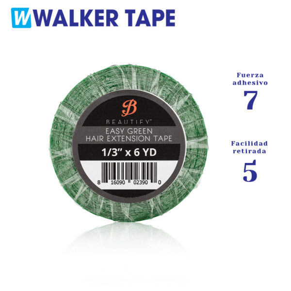 Rolo de fita adesiva dupla face Easy Green para substituição de extensões adesivas. Nível de força 7 e facilidade de remoção nível 5